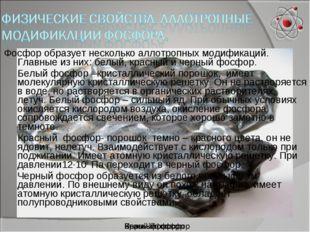 Черный фосфор Красный фосфор Белый фосфор Фосфор образует несколько аллотропн