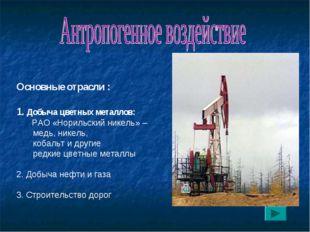 Основные отрасли : 1. Добыча цветных металлов: РАО «Норильский никель» – мед