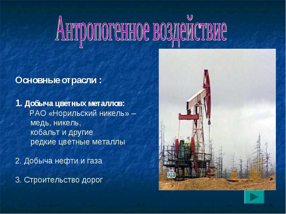 Основные отрасли : 1. Добыча цветных металлов: РАО «Норильский никель» – мед...