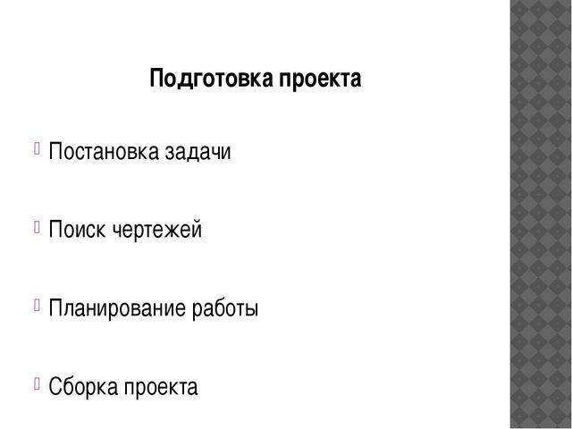 Подготовка проекта Постановка задачи Поиск чертежей Планирование работы Сборк...