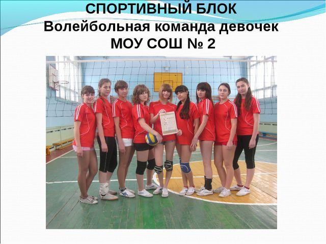 СПОРТИВНЫЙ БЛОК Волейбольная команда девочек МОУ СОШ № 2