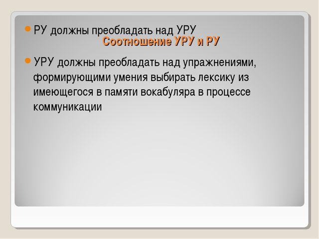Соотношение УРУ и РУ РУ должны преобладать над УРУ УРУ должны преобладать над...