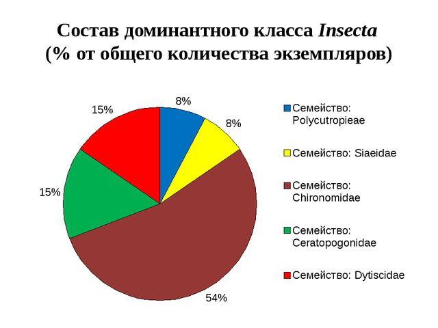 Состав доминантного класса Insecta (% от общего количества экземпляров)