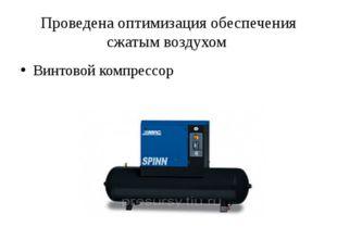 Проведенаоптимизация обеспечения сжатым воздухом Винтовой компрессор
