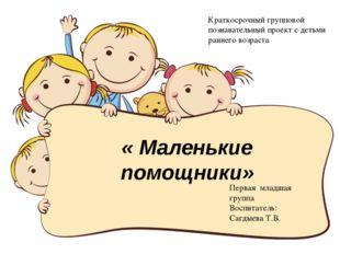 « Маленькие помощники» Краткосрочный групповой познавательный проект с детьми