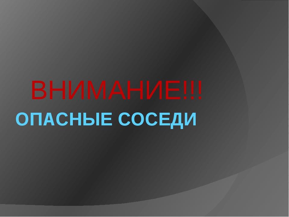 ОПАСНЫЕ СОСЕДИ ВНИМАНИЕ!!!