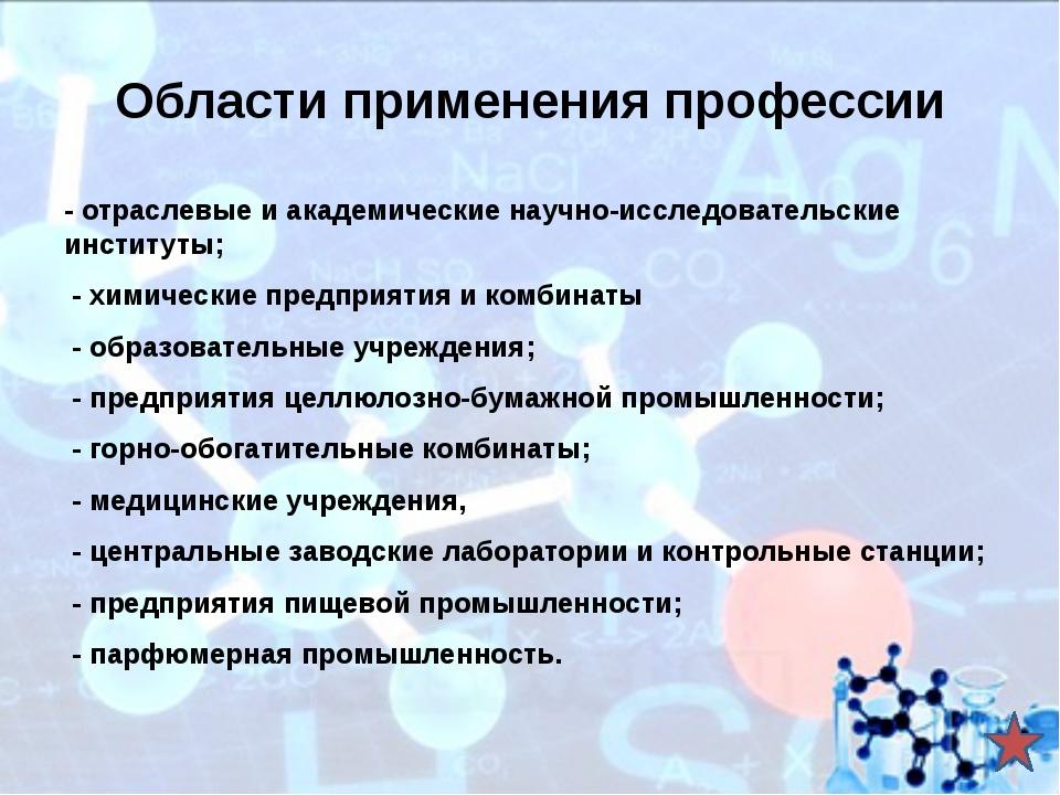 Учебные заведения, обучающие по данной специальности «Химическая технология о...