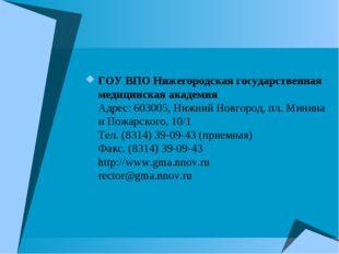 ГОУ ВПО Нижегородская государственная медицинская академия Адрес: 603005, Ниж