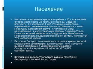Население Численность населения Уральского района - 20,4 млн человек (второе