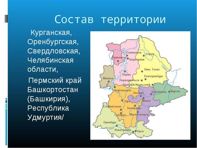 Состав территории Курганская, Оренбургская, Свердловская, Челябинская област...