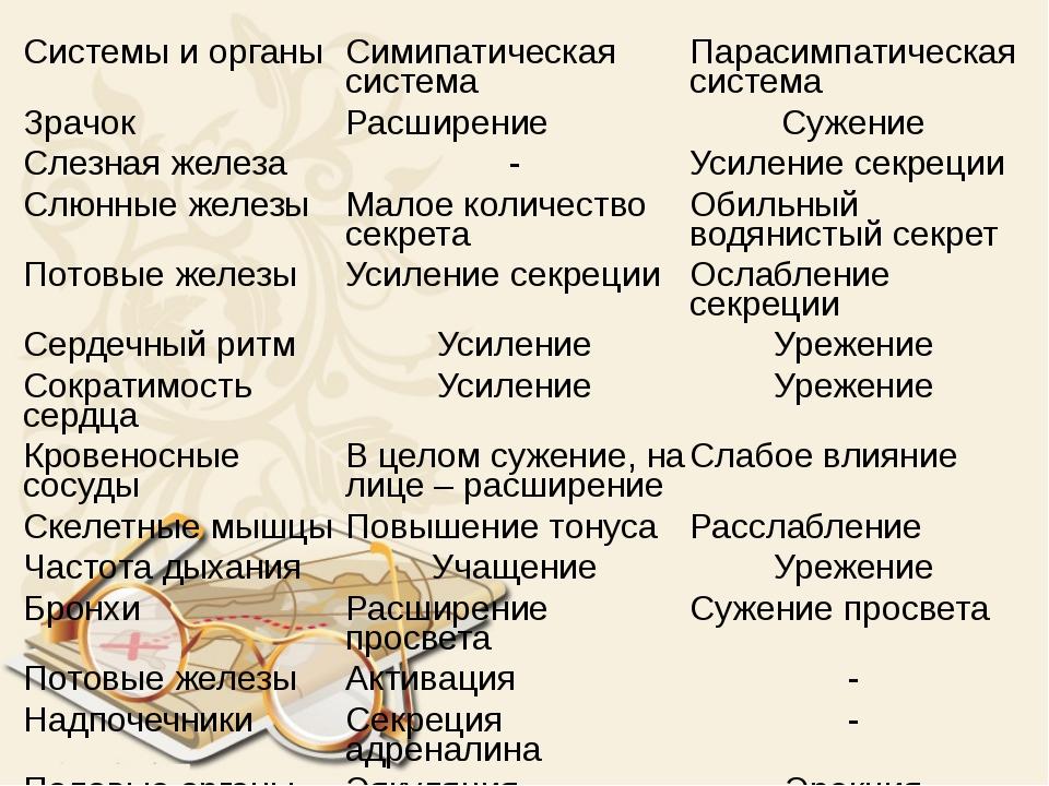 Системы и органы Симипатическая система Парасимпатическая система Зрачок Расш...