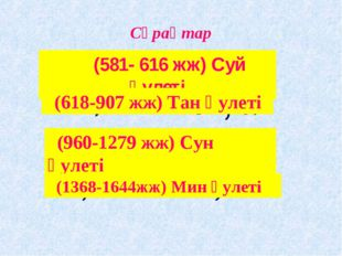 Сұрақтар (581- 616 жж) Суй әулеті (618-907 жж) Тан әулеті (960-1279 жж) Сун ә