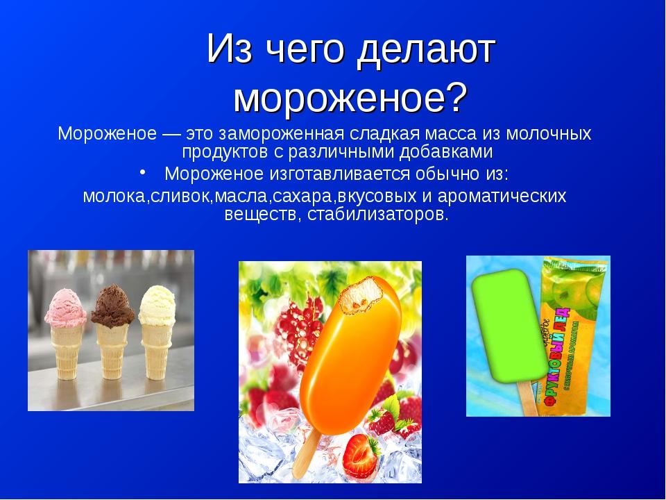 Из чего делают мороженое? Мороженое — это замороженная сладкая масса из молоч...
