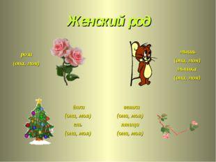Женский род роза (она, моя) мышь (она, моя) мышка (она, моя) ёлка (она, моя)
