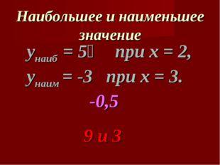 Наибольшее и наименьшее значение унаиб = 5⅓ при х = 2, унаим = -3 при х = 3.