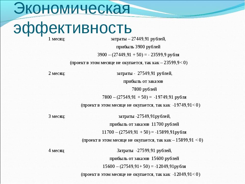 Экономическая эффективность 1 месяц:затраты – 27449,91 рублей, прибыль 3900...