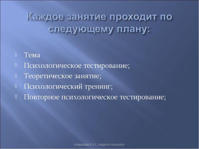 Тема Психологическое тестирование; Теоретическое занятие; Психологический тре...