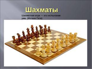 Шахматы Шахматная игра — это испытание ума. (Иоганн Гете)