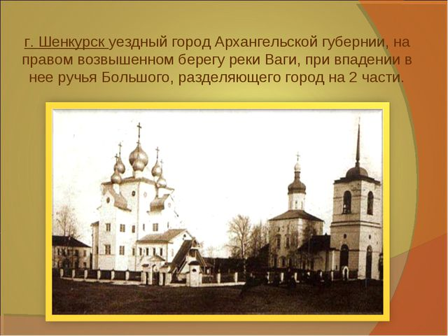 г. Шенкурск уездный город Архангельской губернии, на правом возвышенном берег...