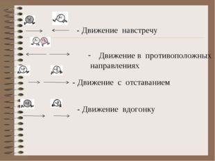 - Движение навстречу Движение в противоположных направлениях - Движение с от