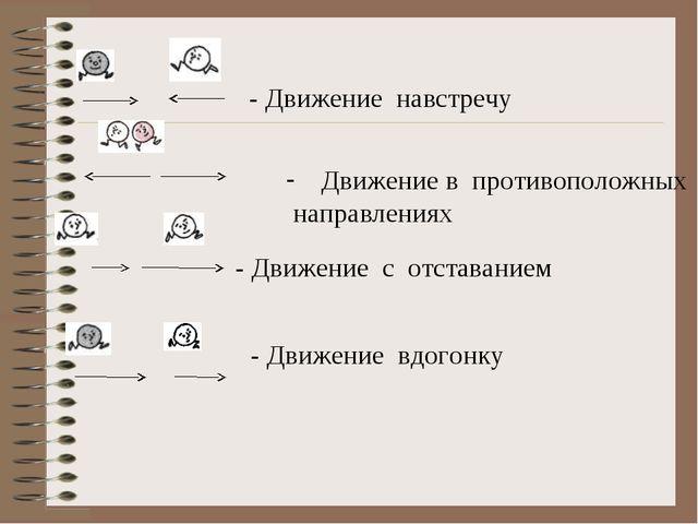 - Движение навстречу Движение в противоположных направлениях - Движение с от...