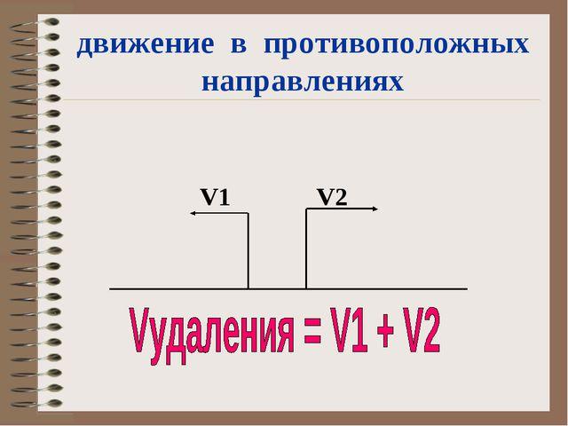 движение в противоположных направлениях  V1 V2