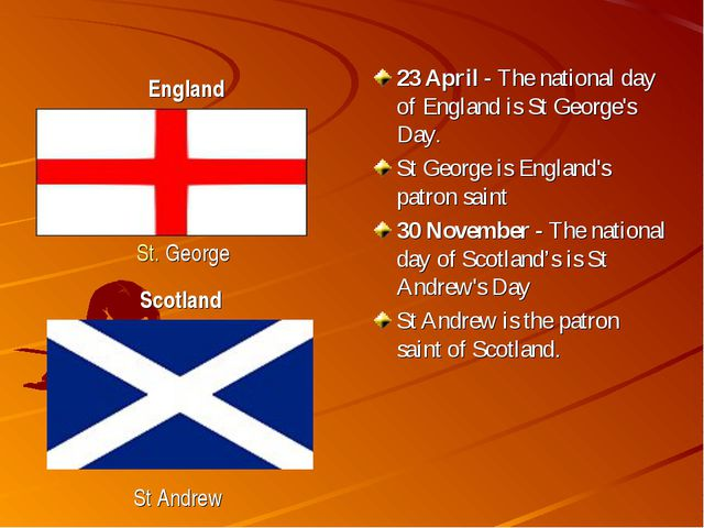 23 April - The national day of England is St George's Day. St George is Engla...