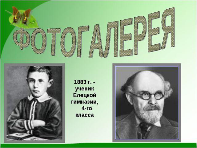 1883 г. - ученик Елецкой гимназии, 4-го класса