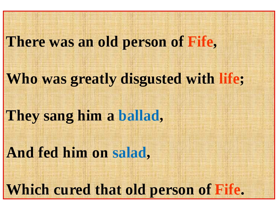 There was an old person of Fife, Who was greatly disgusted with life; They s...