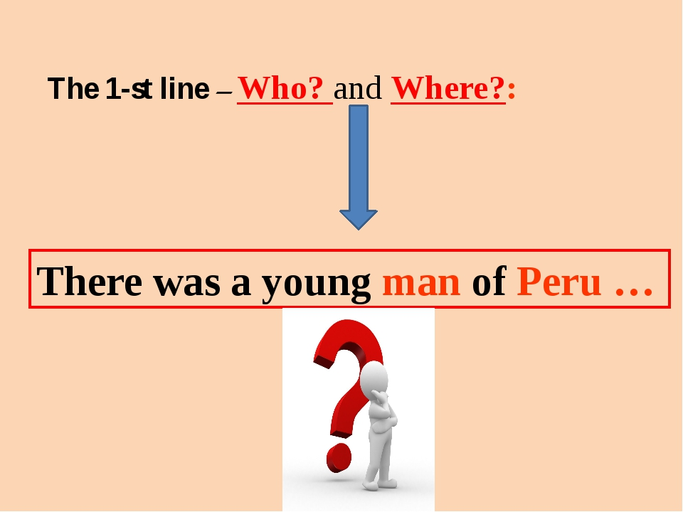 The 1-st line – Who? and Where?: There was a young man of Peru …