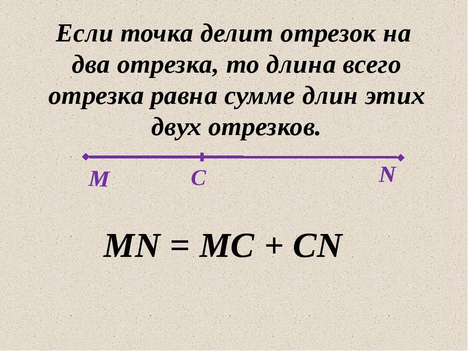 Если точка делит отрезок на два отрезка, то длина всего отрезка равна сумме...