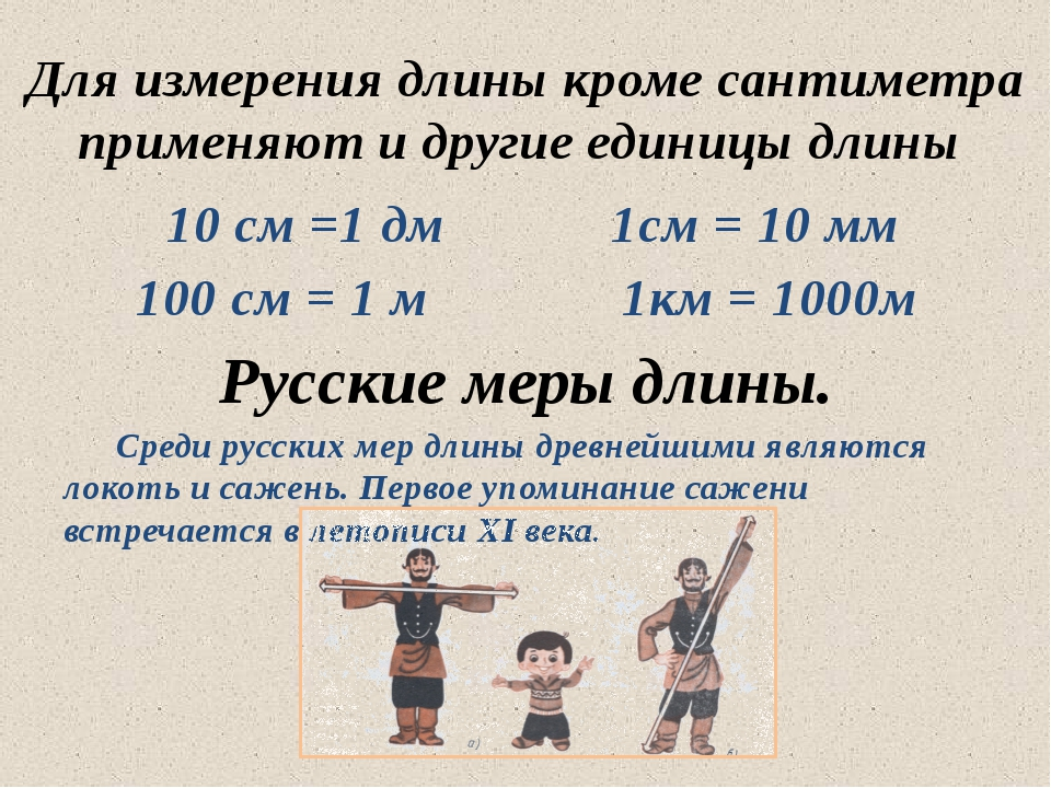 10 см =1 дм 1см = 10 мм 100 см = 1 м 1км = 1000м Русские меры длины. Среди...
