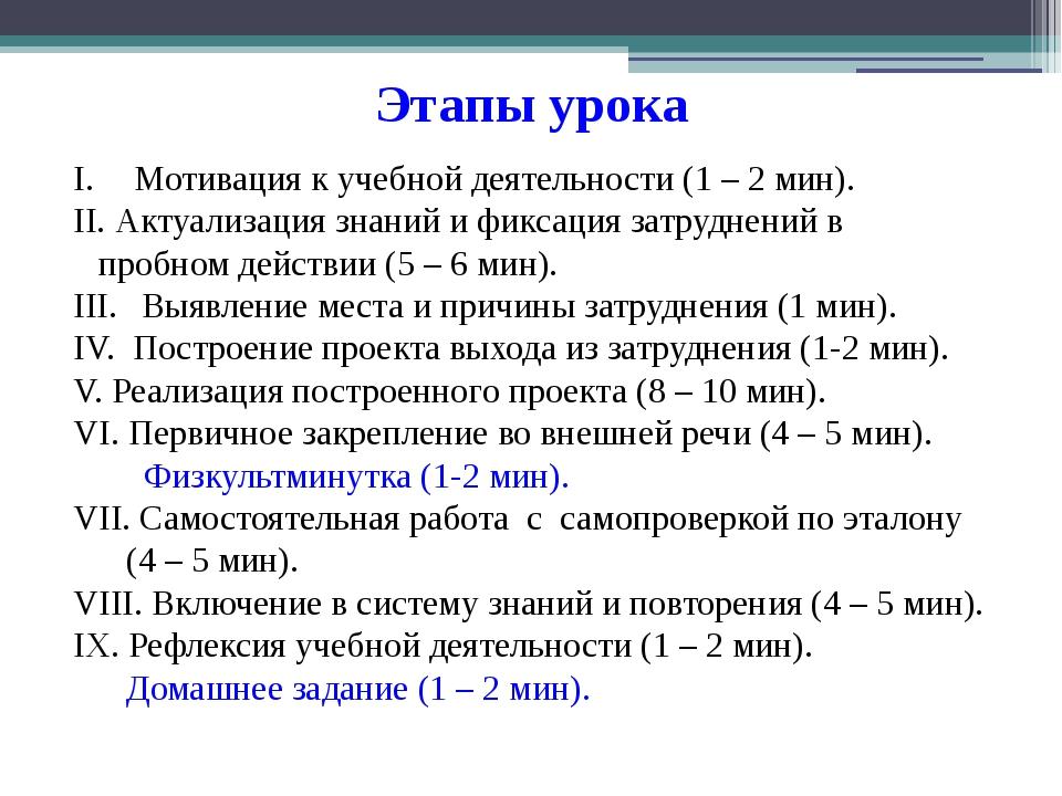Этапы урока Мотивация к учебной деятельности (1 – 2 мин). Актуализация знаний...