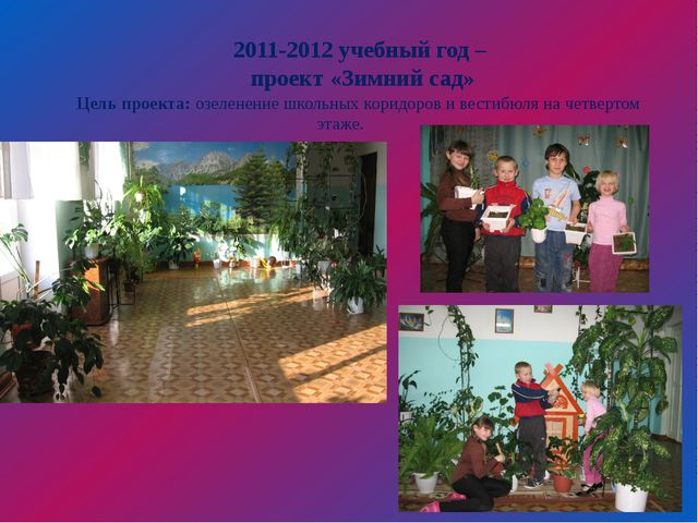 2011-2012 учебный год – проект «Зимний сад» Цель проекта:озеленение школьны...