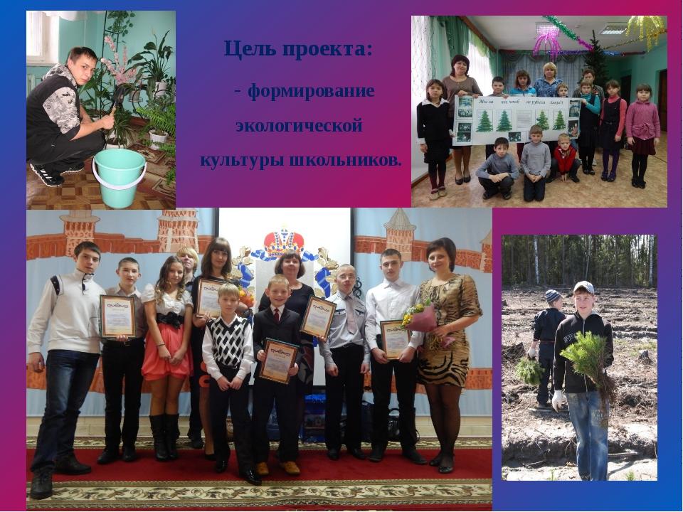 Цель проекта: - формирование экологической культуры школьников.