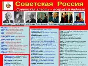 Советская власть – всерьёз и надолго В.И. Ленин И.В. Сталин Н.С. Хрущёв Л.И.
