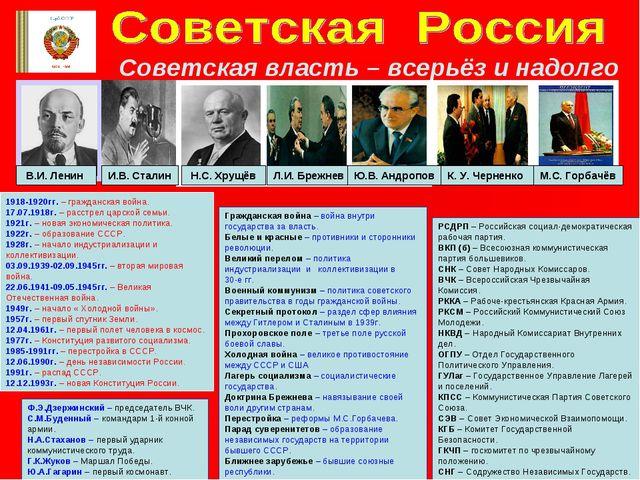 Советская власть – всерьёз и надолго В.И. Ленин И.В. Сталин Н.С. Хрущёв Л.И....