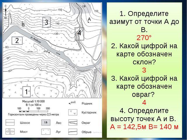 1. Определите азимут от точки А до В. 270° 2. Какой цифрой на карте обозначен...