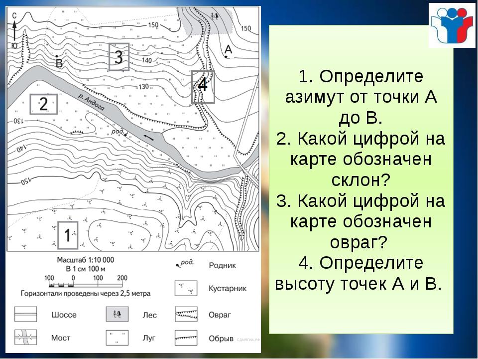 1. Определите азимут от точки А до В. 2. Какой цифрой на карте обозначен скло...