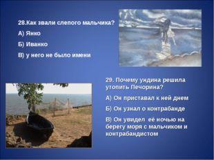 28.Как звали слепого мальчика? А) Янко Б) Иванко В) у него не было имени 29.