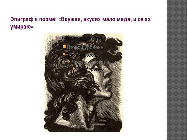 Эпиграф к поэме: «Вкушая, вкусих мало меда, и се аз умираю»