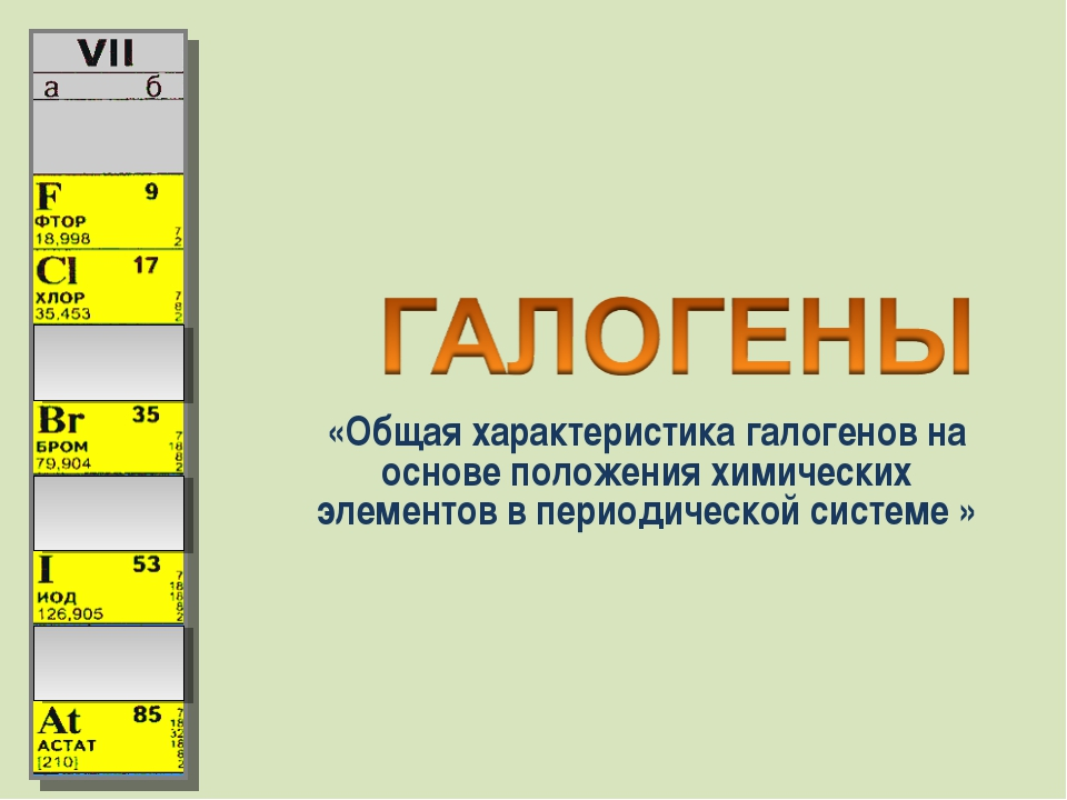 «Общая характеристика галогенов на основе положения химических элементов в пе...