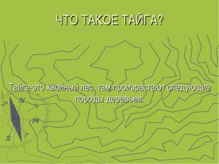 ЧТО ТАКОЕ ТАЙГА? Тайга-это хвойный лес, там произрастают следующие породы дер