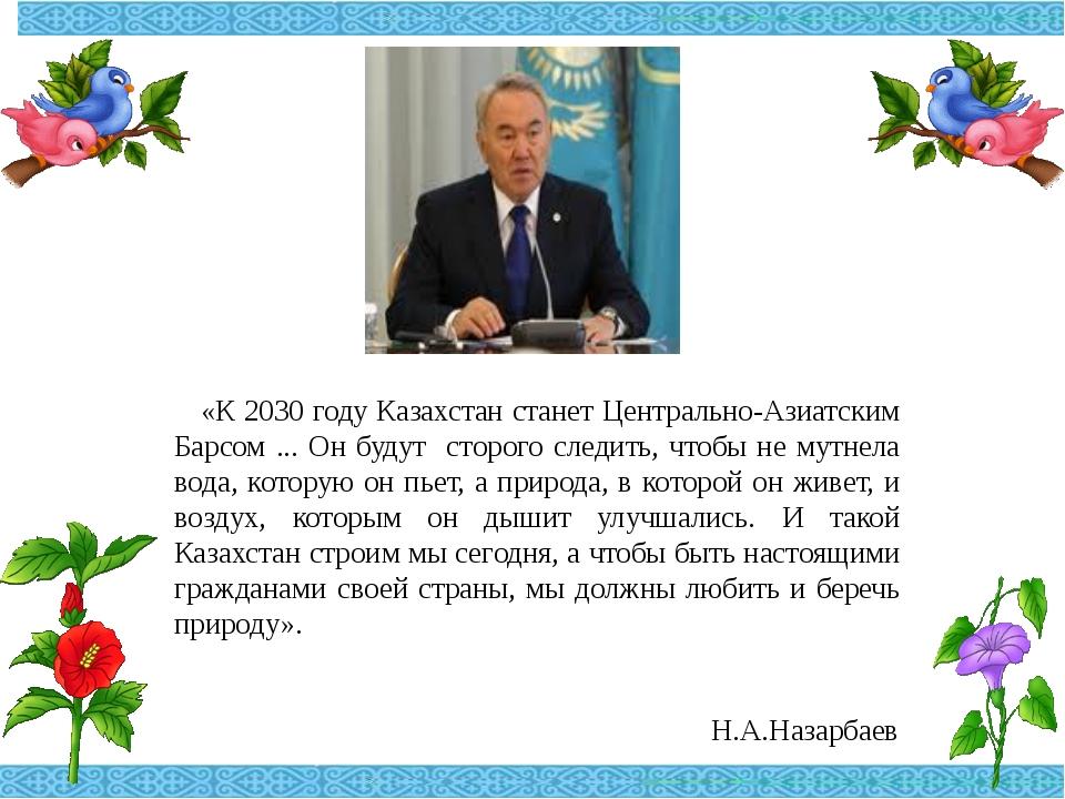 «К 2030 году Казахстан станет Центрально-Азиатским Барсом ... Он будут сторо...