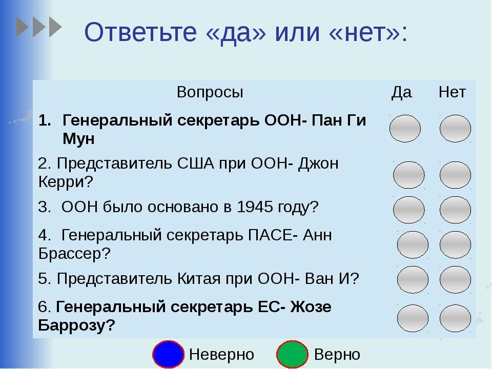 Ответьте «да» или «нет»: Неверно Верно Вопросы Да Нет Генеральныйсекретарь ОО...