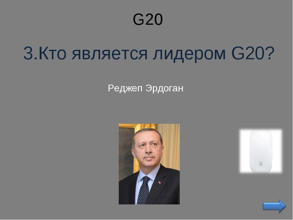 G20 3.Кто является лидером G20? Реджеп Эрдоган