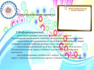 Этапы реализации проекта: I.Информационный - проинформировать школьное сообщ