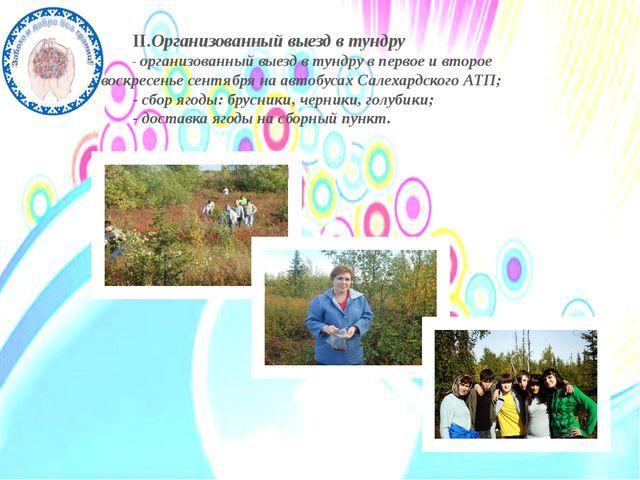 II.Организованный выезд в тундру - организованный выезд в тундру в первое и в...