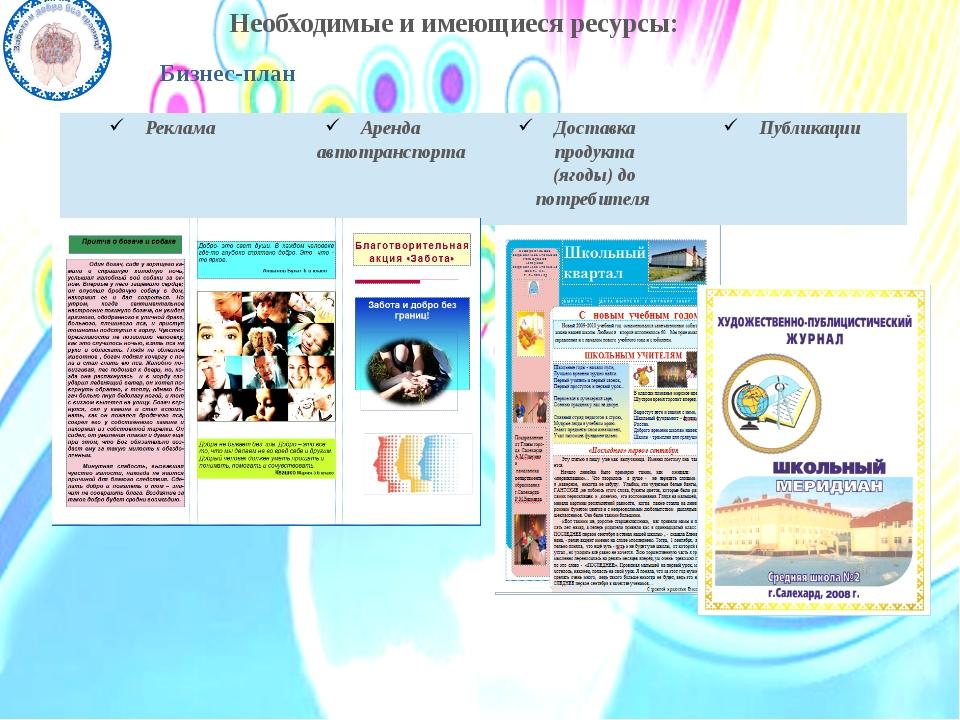Необходимые и имеющиеся ресурсы: Бизнес-план Реклама Аренда автотранспорта До...