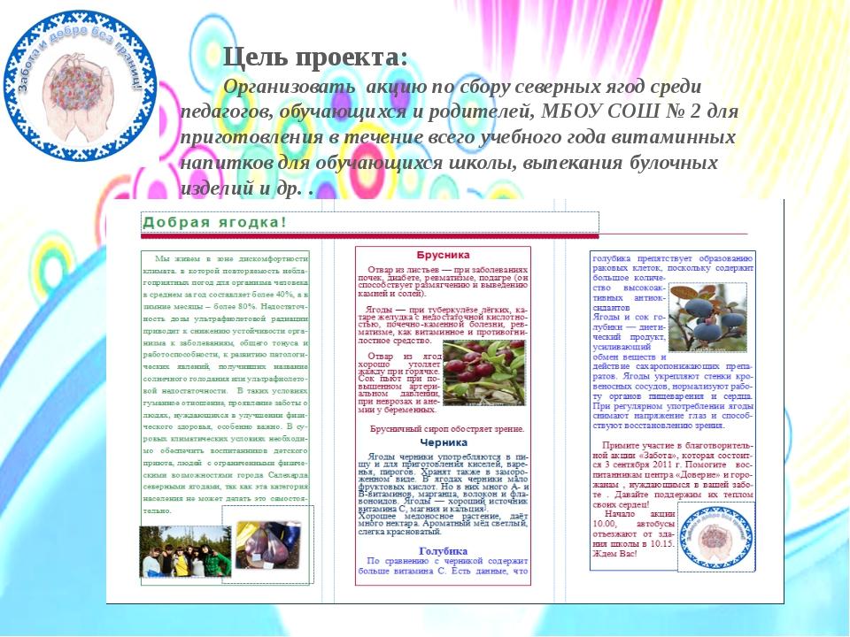 Цель проекта: Организовать акцию по сбору северных ягод среди педагогов, обу...